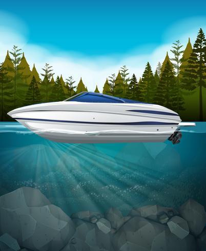 Ein Schnellboot im See vektor