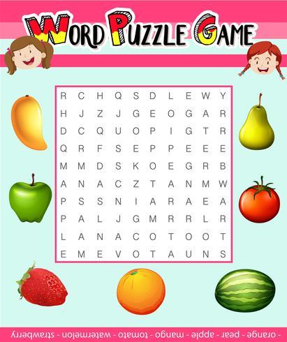 Wort-Puzzle-Spiel-Vorlage mit Obst-Thema vektor