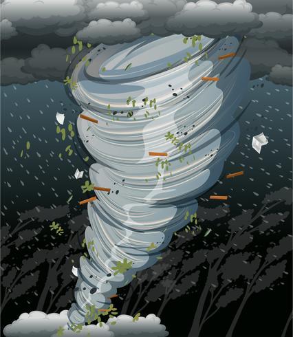 En cyklonvirvel i mörk storm vektor