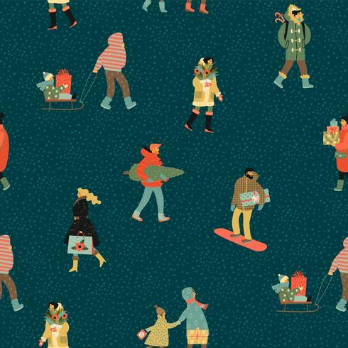 Weihnachten und glückliches neues Jahr nahtlose Muster Whit Menschen vektor