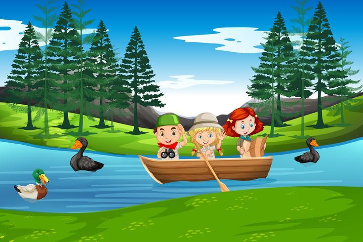 Kinder paddeln auf Holzboot vektor