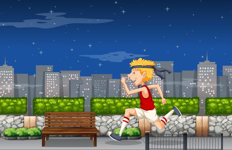Ein Mann, der nachts für Marathon trainiert vektor