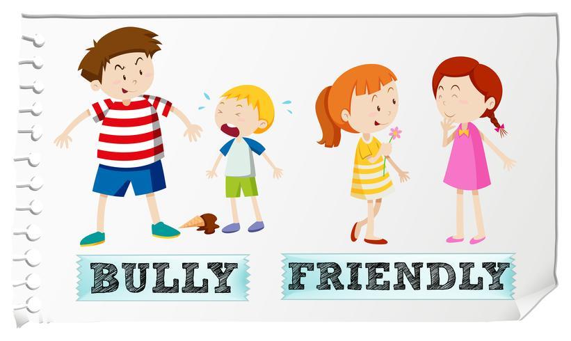 Motsatt adjektiv bully och vänlig vektor