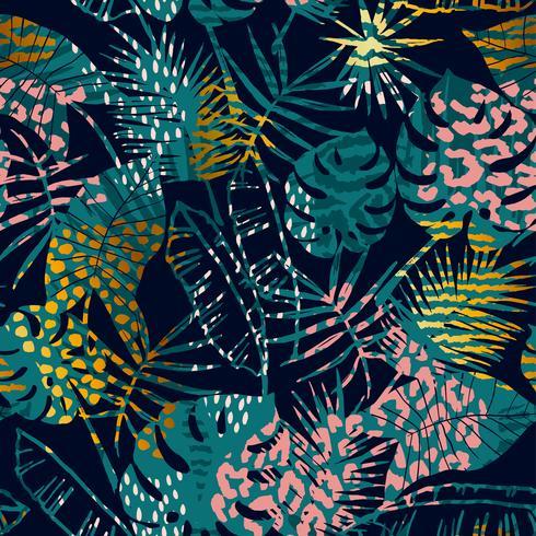 Trendigt sömlöst exotiskt mönster tropiska växter, djurtryck och handritade texturer. vektor