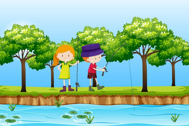 Två barn som fiskar sjöscenen vektor