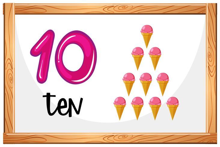 Zählen Sie bis 10 Eiscreme-Konzept vektor