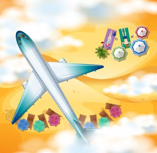 Flygplan som flyger över stranden vektor