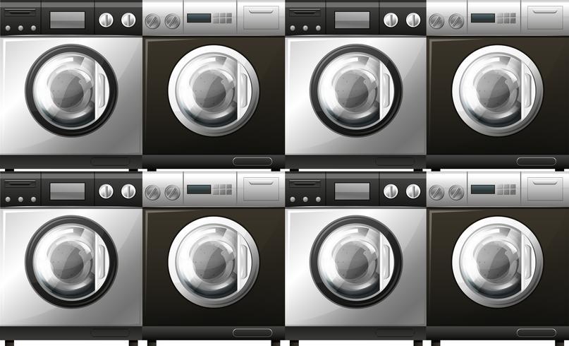 Tvättmaskiner i svart och vitt vektor