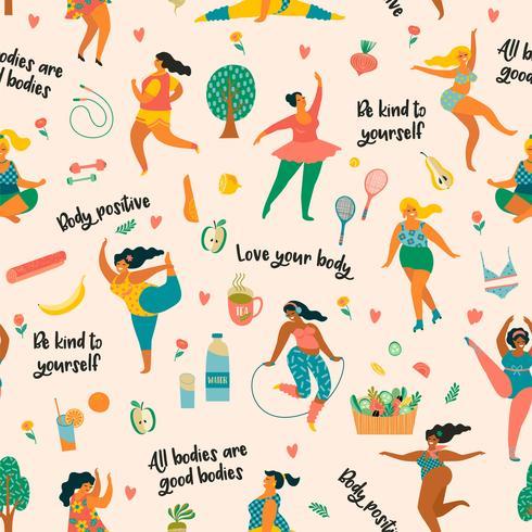 Kroppspositiv. Lyckliga plusstorlekflickor och aktiv livsstil. vektor