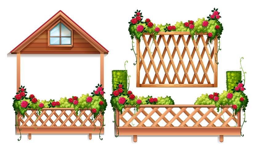 Staketdesign med rosor och buske vektor