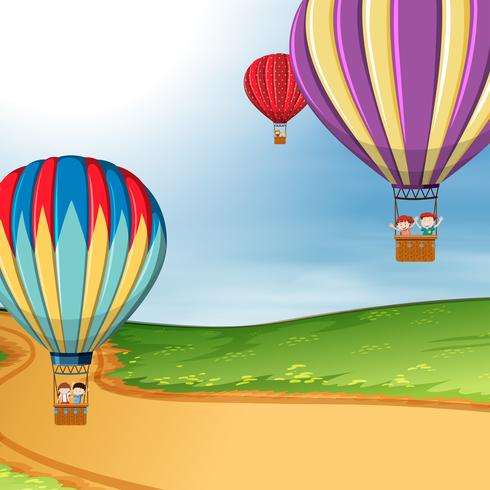 Barn i varmluftsballong vektor