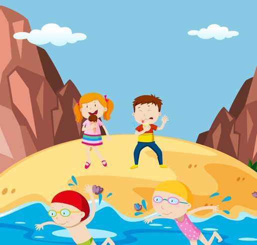 Sommerurlaub am Strand vektor