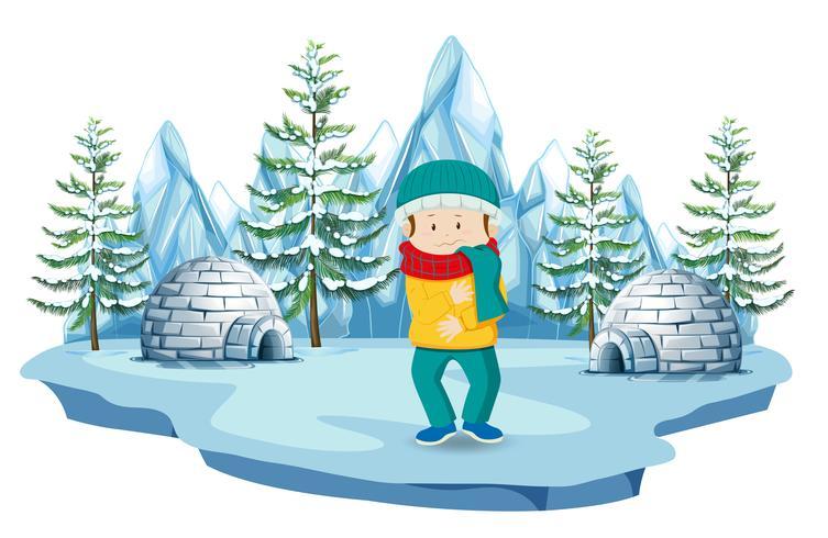 En pojke på nordpolen vektor