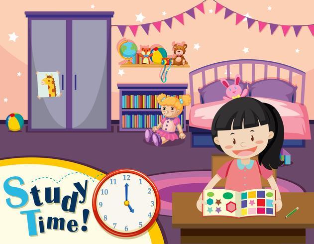 Junge Mädchen lernen Zeit vektor