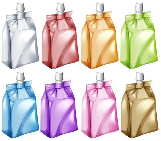 Saftbeutel in verschiedenen Farben vektor