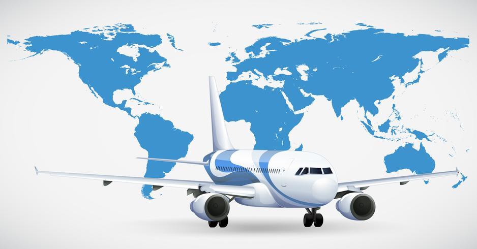Flygplan och blå atlas vektor