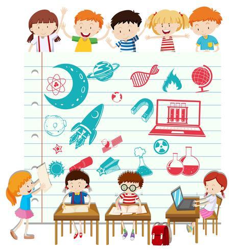 Barn gör vetenskap i skolan vektor