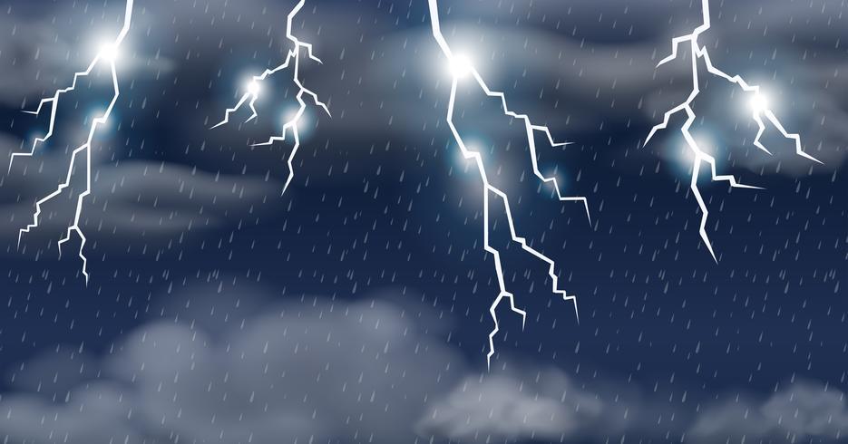 Åskväder på regnskur vektor