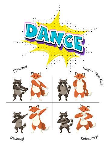 Söt djur dansande koncept vektor
