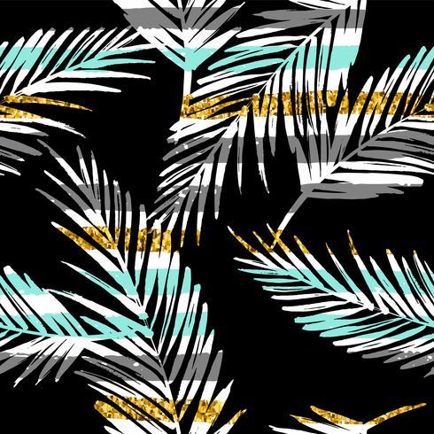 Seamless exotiskt mönster med palmblad silhuetter. Guld glitter konsistens. vektor