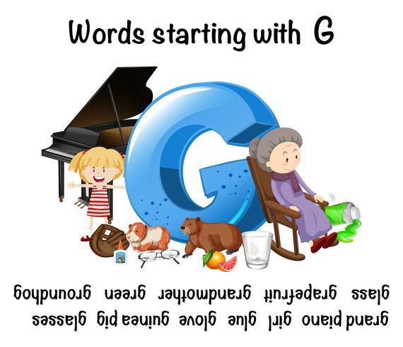 Engelska ord som börjar med bokstaven G vektor