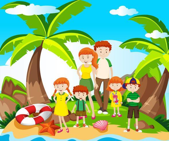 Familienausflug am Meer vektor