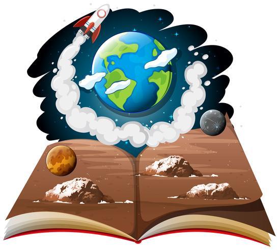 Galaxie mit Erde und Raketenschiff auf einem Buch vektor