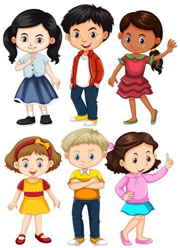 Olika karaktärer av pojkar och tjejer vektor