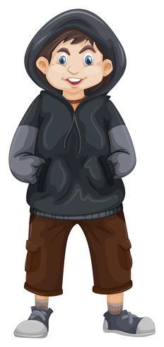 Junge im grauen Sweatshirt vektor