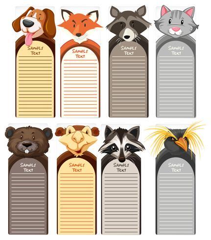 Pappersmallar med olika typer av vilda djur i bakgrunden vektor