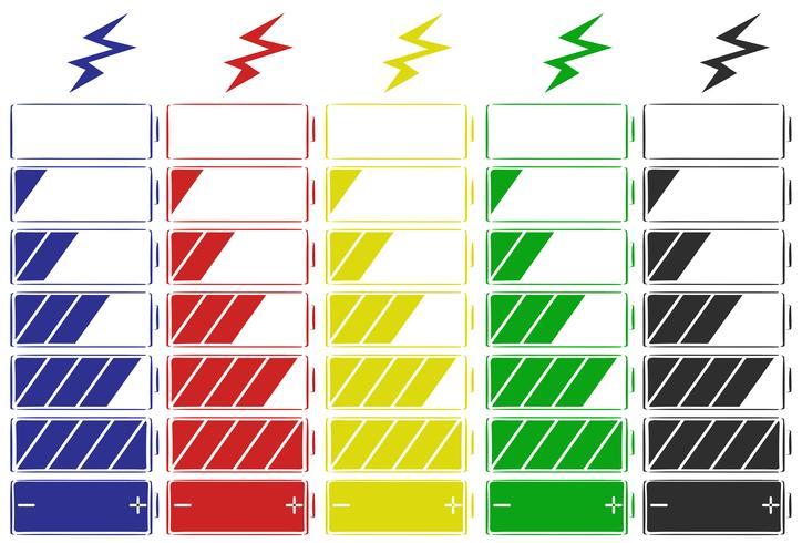 Batteriikon i fem färger vektor
