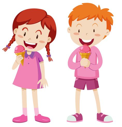 Pojke och tjej i rosa outfit med glass vektor
