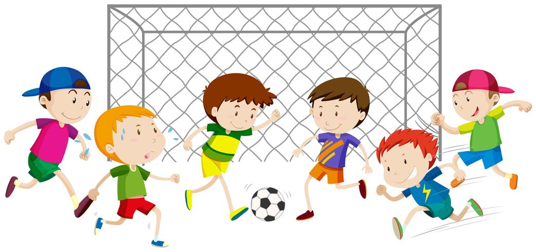 Grupp av pojkar som spelar fotboll vektor