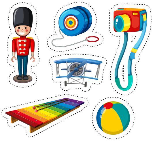 Klistermärke design med olika leksaker vektor