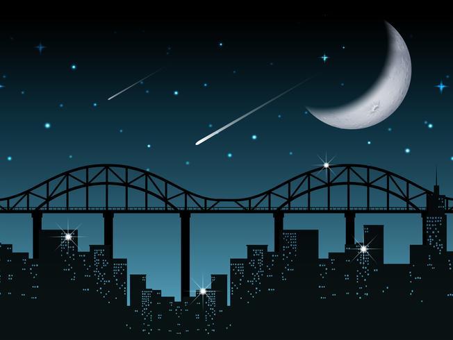 Silhuett stadsbild på natten vektor