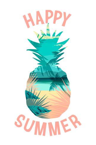 Tropisk strand sommar print med slogan för t-shirts, affischer, kort och andra användningsområden. vektor