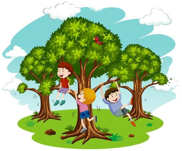 Barn som leker i naturen vektor