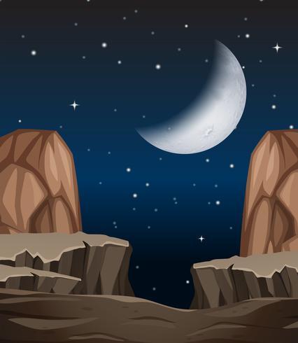 En sten klippe scen på natten vektor