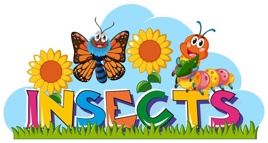 Wordcard für Insekten mit Schmetterling und Raupe vektor