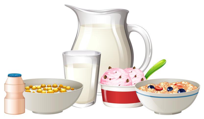 Frukost på vit bakgrund vektor