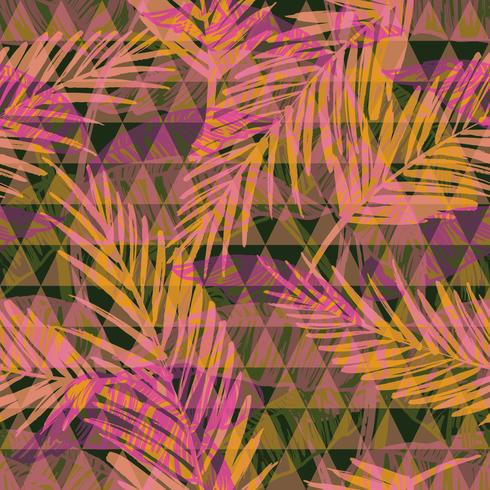 Seamless exotiskt mönster med palm på geometrisk bakgrund. vektor