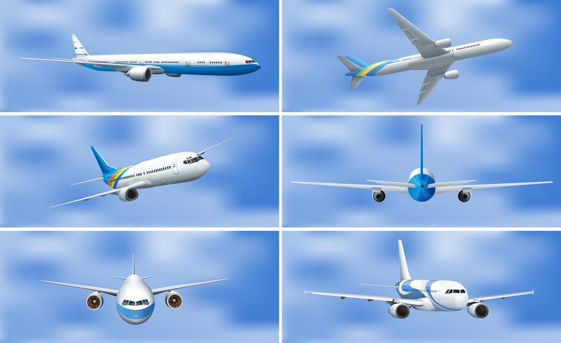 Eine Reihe von Flugzeug am Himmel vektor