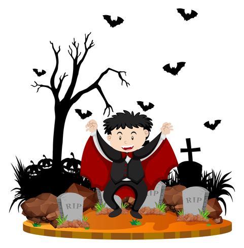 Kyrkogårdscens med vampyr och fladdermus vektor