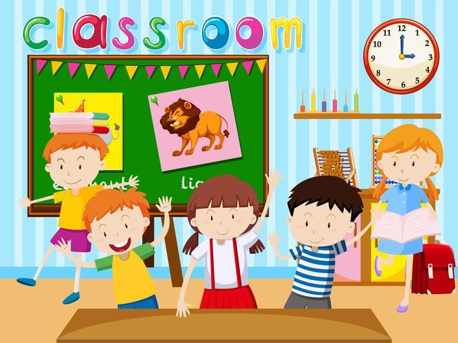 Många barn studerar i klassrummet vektor
