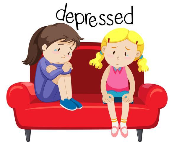 Zwei Mädchen sind deprimierend vektor
