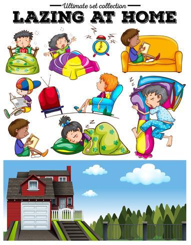 Pojkar och tjejer vilar hemma vektor