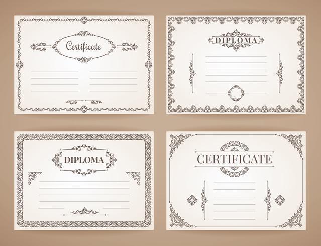 Sammlung von Vektor-Designvorlagen für Diplom, Zertifikat, Poster und andere Zwecke vektor