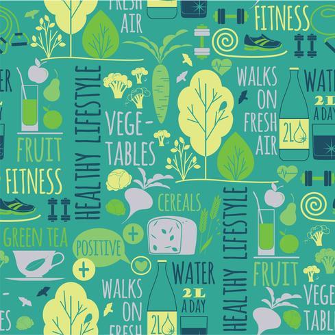 Hälsosam livsstil sömlös bakgrund. vektor