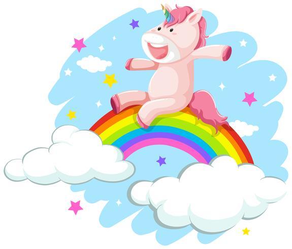 En glad enhörning på regnbåge vektor