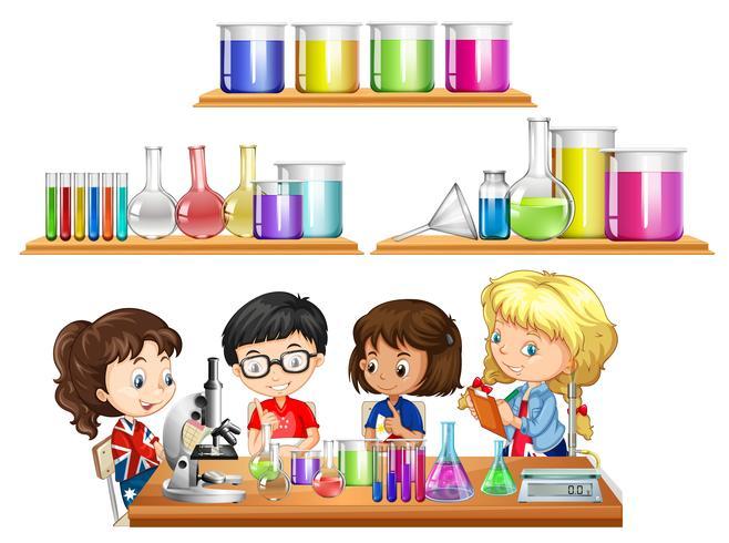 Barn gör vetenskapsexperiment och uppsättning bägare vektor